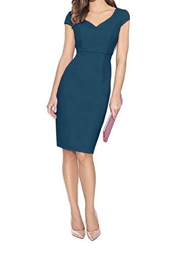 Charmant Ballkleider Damen Kurzarm Blau Tinte Knielang mit Etuikleider Rosa Abendkleider Partykleider Elegant UFHHnAcW4