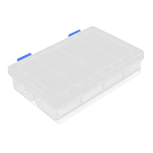 Uxcell a15121800ux0972 Plastic 8 Grid Screws Electronic Parts Storage Container Box Clear,