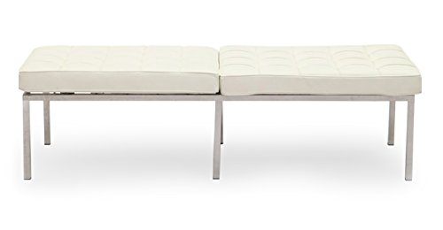Kardiel Florence Knoll Style Bench 3 Seater, Cream White Premium Leather