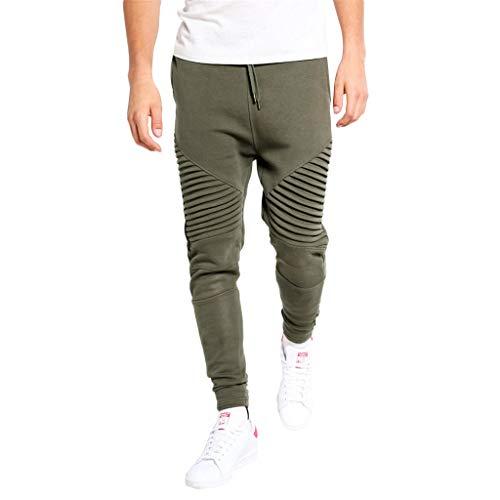 AgrinTol Mens Sports Pants, Men's Sport Lashing Pleats Patchwork Casual Loose Sweatpants Drawstring Pant Army Green