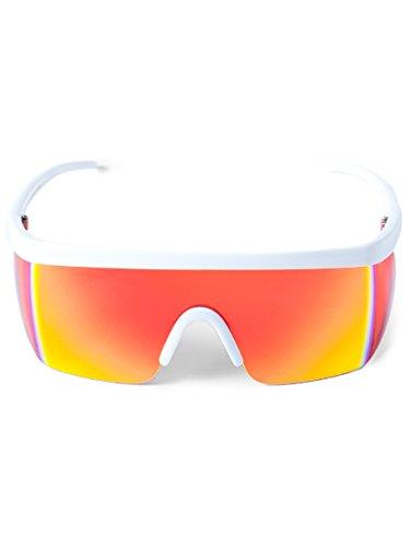 Unisex Performance Sport Style Retro Mirrored Sunglasses White