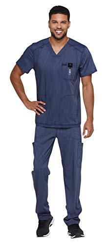 Dickies Advance Men's Scrub Set Bundle -DK695 Two Toned V-Neck 3 Pocket Top & DK180 Straight Leg Zip Fly Pant & Marc Stevens Badge Reel (D Navy Twist - Large/X-Large) - Medical Two Pocket V-neck Top