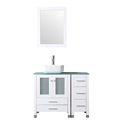 "Best Price! BATHJOY 36"" White Modern Wood Bathroom Vanity Cabinet Square Ceramic Vessel Sink Top F..."