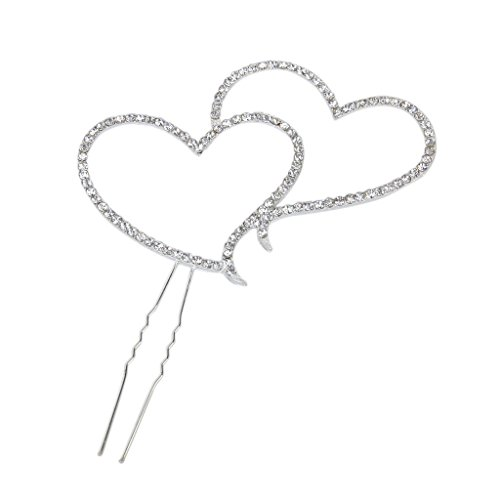 (andy coolDouble Heart Rhinestone Cake Topper for Wedding, Engagement,Birthday,Party or Aniversary Decoration Useful and Practical)