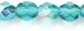 Preciosa Czech Fire 6 mm Faceted Round Polished Glass Bead, Dark Emerald Aurora Borealis, 180-Pack