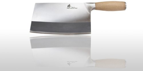 - ZHEN Japanese VG-10 3 Layers forged High Carbon Stainless Steel Heavy-Duty Cleaver Chopping Chef Butcher Knife 8-inch, OAK Handle
