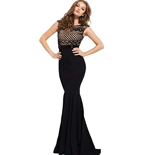 (Jovani 45154A Lace Prom Evening Dress Black 0)