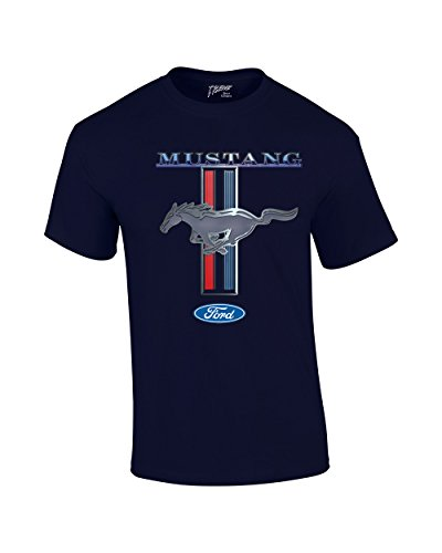 Muscle Mustang T-shirt - Ford Mustang T-Shirt Ford Mustang Pony & Stripes-Nb-Xl