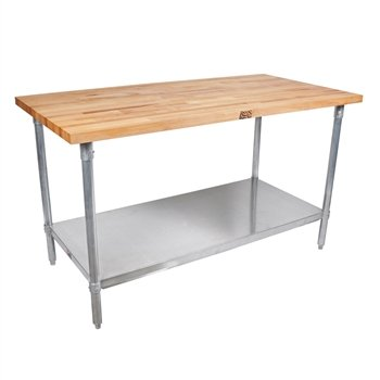 John Boos Thick Maple Top Work Table on Galvanized Base with Shelf, 60 x 24 Inch by John Boos