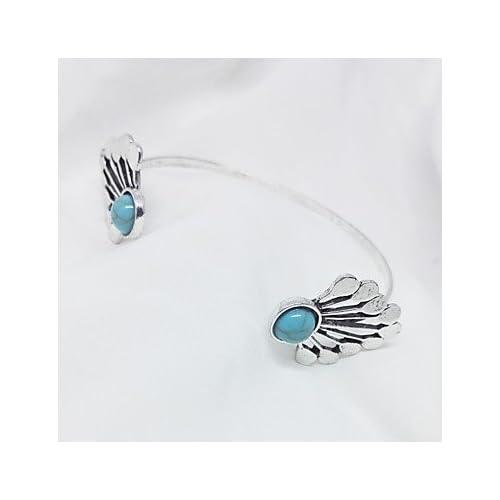 MJW&SL Femme Manchettes Bracelets Turquoise Classique Rétro Turquoise Alliage Ailes / Plume Bijoux Quotidien Bijoux de fantaisie Argent