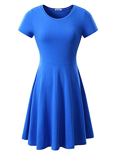 HUHOT Women Short Sleeve Round Neck Summer Casual Flared Midi Dress Small Blue