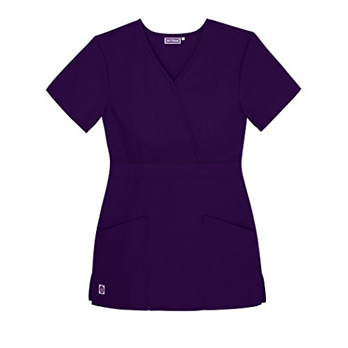 Sivvan Women's Scrubs Mock Wrap Top (Available in 15 Colors) - S8302 - Purple - 4X (Wrap Smock)