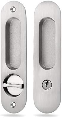 Satin Nickel) NCL Sliding Door Lock for Bedroom or Bathroom