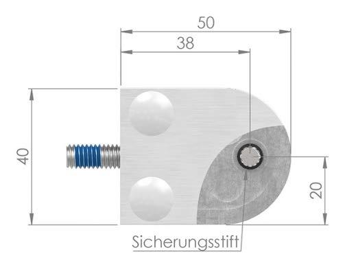 Glasklemme Modell 30 Anschluss f/ür /ø 60,3mm Rohr mit AbZ V4A f/ür 10,00mm Glas