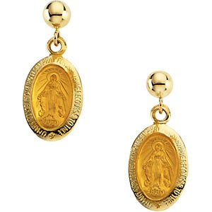 14K jaune 12x 9mm miraculeuse Boucles d'oreilles pendantes