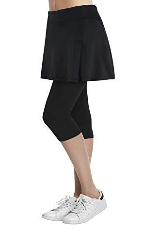Womens Sport Skapri with Pockets Slit Side Skirt with Built-in Capri Legging Black02 M -