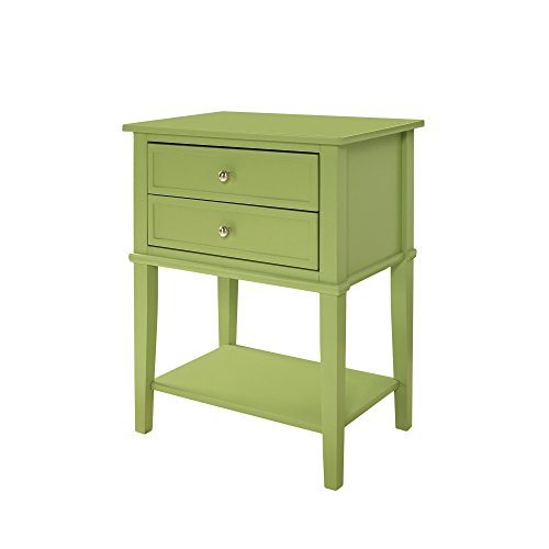 Casual Clay Alder Home Isleton White 2-drawer Accent Table Painted Solid Wood and MDF Large Smooth Top (Green)