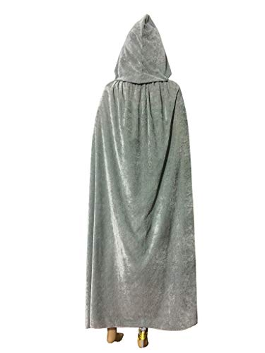 Adult's Halloween Cape Costume, Deluxe Velvet Cloak with Hood, Halloween Robe for Men and Women, Full Length, -