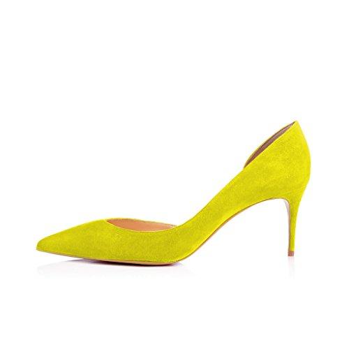 Xyd Sexy Tacco Basso Scarpe Dorsay Scarpe A Punta Slip On Sera Gattino Per Le Donne In Camoscio Color Limone