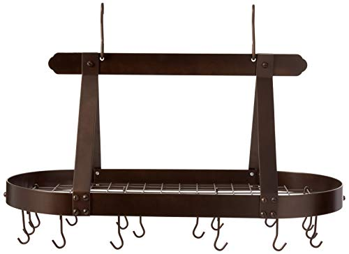 - Old Dutch Oval Steel Pot Rack w. Grid & 16 Hooks, Oiled Bronze, 36