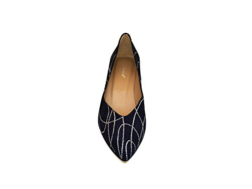 GENNIA ISORBO - Women´s Closed Toe Leather Pumps Blue Navy & Silver 7aoEXUTty3