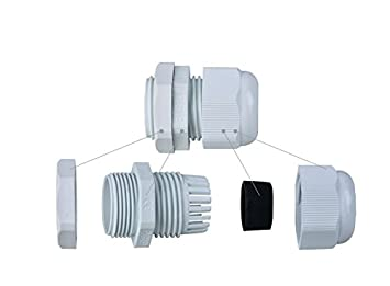 YXQ 24Pcs PG9 Cable Gland Joints Gasket for 4-8mm Wire Waterproof Connector Adjustable Lock Nut White Gery Plastic