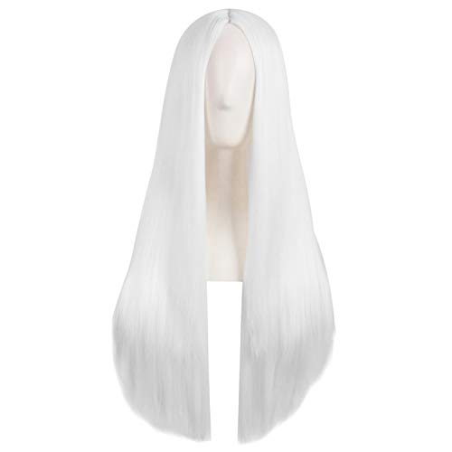White Costume Wig Synthetic Heat Resistant Long Straight