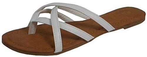 Cambridge Select Women's Crisscross Strappy Thong Slip-On Flat Slide Sandal (8.5 B(M) US, White) ()