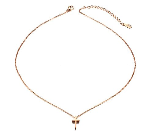 Stainless Steel Dainty Cross Necklace (Gold Plated) - 7