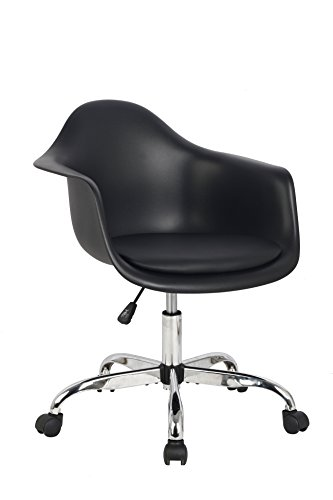 HODEDAH IMPORT Hodedah Mid Century Modern, Molded Bucket Chair with Adjustable Height & Wheels, Black by HODEDAH IMPORT