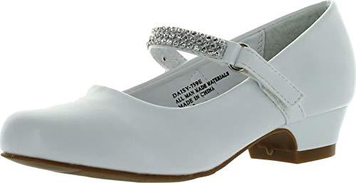Little Angel Girls Daisy-759E Round Toe Rhinestone Strap Kiddie Heel Pumps Shoes (9 M US Toddler, - Angel Girl Little