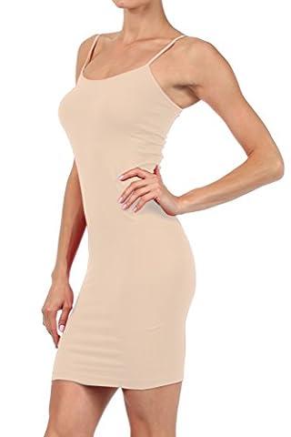 ICONOFLASH Women's Nylon Seamless Long Cami Slip Dress (Oyster, Plus)