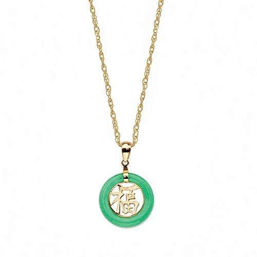 Regalia By Ulti Ramos Green Jadeite Jade Blessing Chinese Fu Symbol Circle Pendant Necklace In 14kt Gold