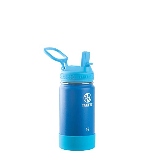 - Takeya 51139 Kids Actives Stainless Steel Insulated Water Bottle with Straw Lid, 14 oz, Sky