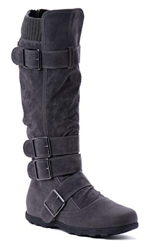 (Women's Knee High Mid Calf Boots Ruched Suede Slouch Knitted Calf Buckles (Elma-02, Charcoal 8))