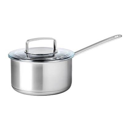 IKEA 365 + - Cazo con tapa, acero inoxidable, vidrio: Amazon.es: Hogar