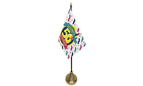 Ukflagshop Pack Of 6 Happy 50Th Birthday Desktop Table Centrepiece Flag Flags With Gold Bases For Party Conferences Office -