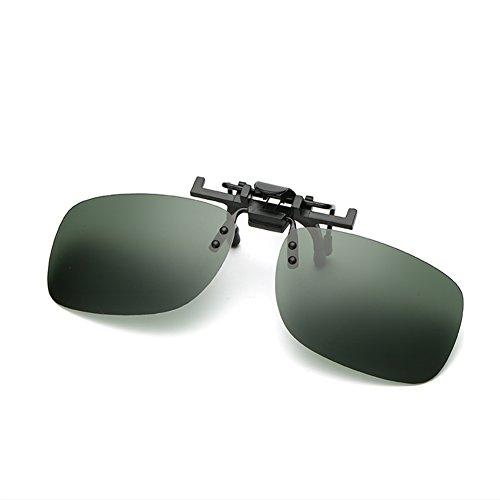 BENNINGCO Men's square type polarizing clip film polarizing driver glasses lens glasses clip film Sunglasses(Grey)