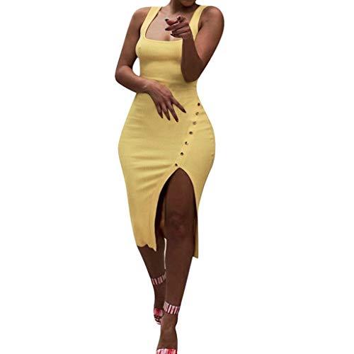 - Caopixx Tank Dress for Women Ladies Sexy Solid Sleeveless Slim Split Irregular Bodycon Dress Yellow