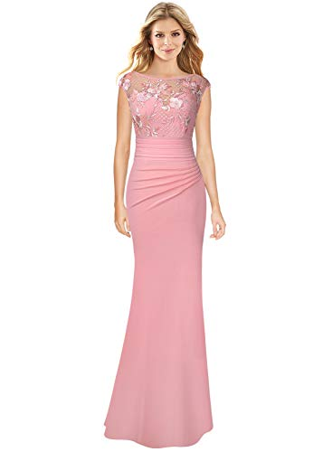 VFSHOW Womens Pink Ruched Ruffles Floral Embroidered Formal Evening Wedding Prom Maxi Dress 2183 PIK S