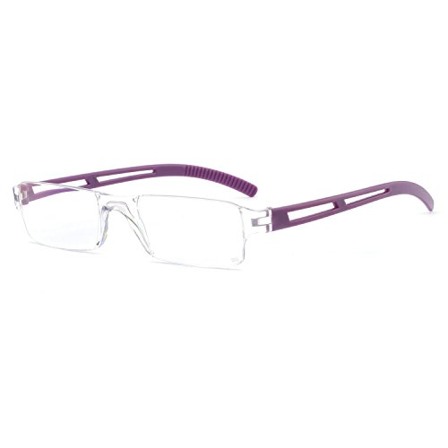 Reading Glasses Rimless Men Women Comfort Prescription Eyeglasses (+1,+1.5,+2.5,+3.0,+3.5,+4.0) (Purple, 2.50)