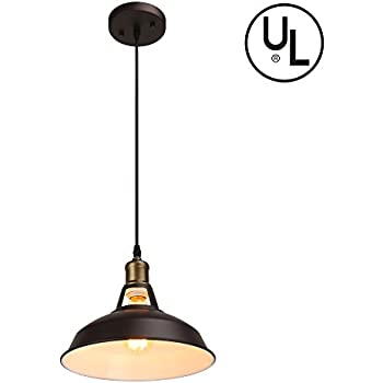 Barn Pendant Light Hanging Light Fixture, Housen Solutions 1-Light Industrial Iron Pendant Lamp Shade, UL Listed, Painted Brown Ceiling Light for Kitchen Bars Dining Room