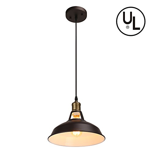 Barn Pendant Light Fixture Industrial Pendant Hanging Lamp Shade, UL Listed, Painted Brown Ceiling Light for Kitchen Bars Dining Room