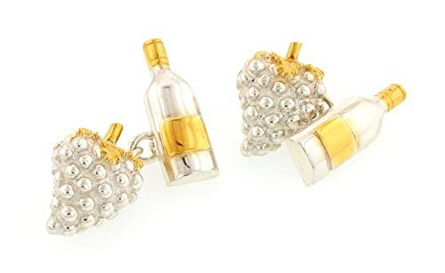Sterling Silver and Vermeil Grapes and Bottle Cufflinks. Made in England