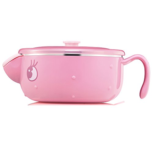 Pink Baby Feeding Bowl with Lid, Anti-scald Stainless Steel, Keep Food Warm Bowl for Girls by Valueder Shell Infant Feeding Spoon