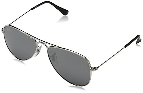 Ray Ban RJ9506S 212/6G Jr. Aviator Junior (Toddler/Kid) - Shiny Silver - 50 - For Toddlers Ray Sunglasses Ban
