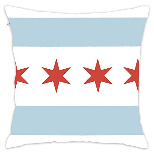 Podas Big Chicago State Flag Decorative Pillow Case Throw Pillows Covers for Couch/Bed 18 X 18 Inch -