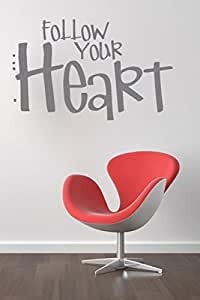 Walliv Decals Follow Your Heart Wall Sticker Decal Wall Quotes [wq0787]
