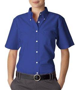8973 UltraClub Short Sleeve Ladies Oxford Shirt