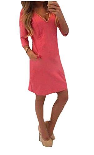 4 Manica Tendenza 3 V Vestito Rossa Mini Del Coolred Bodycon Collo Rosa Womens Semplice 8avqBv